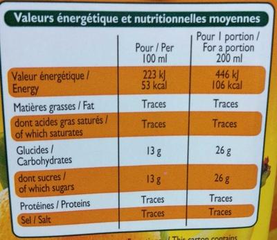 Nectar d'Orange Banane - Voedingswaarden
