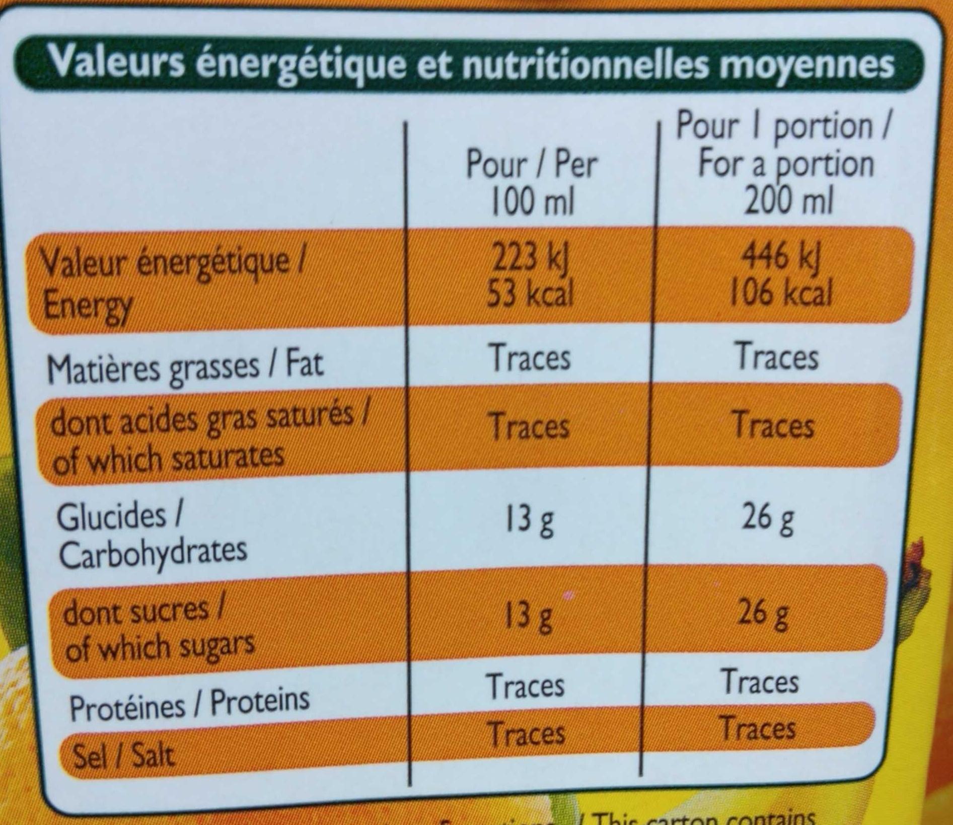 Nectar d'Orange Banane - Voedingswaarden - fr