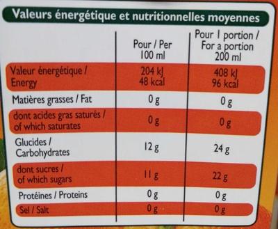 Nectar d'Orange Pêche-Abricot - Voedingswaarden - fr
