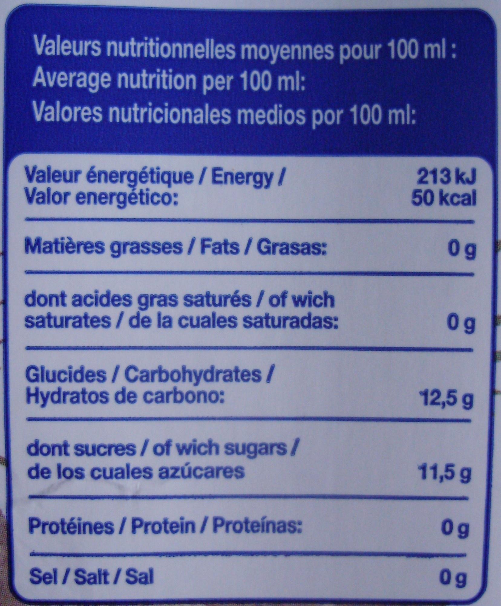 Jus d'ananas à base de jus concentré - Informations nutritionnelles - fr