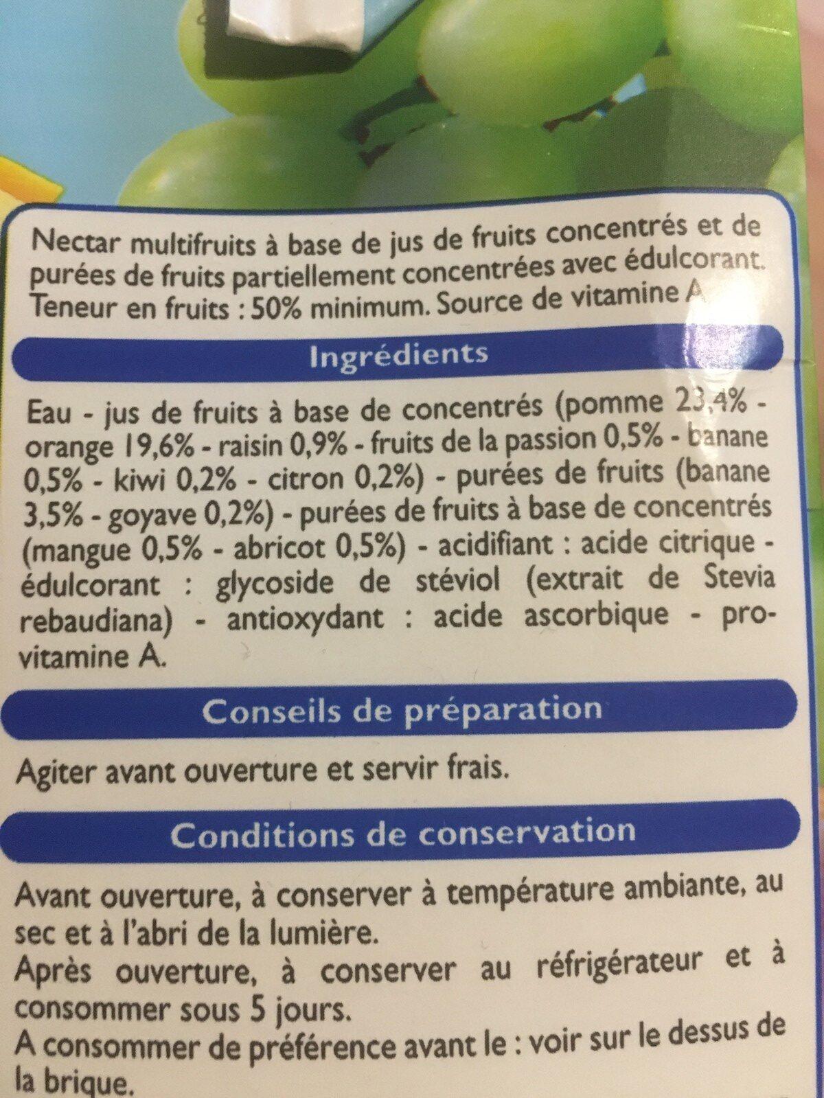 Nectar multifruits à l'extrait de Stévia - Ingrediënten - fr