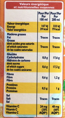 100 % jus d'orange - Informations nutritionnelles - fr