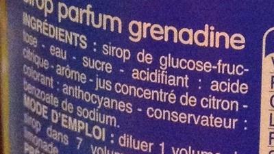 Sirop parfum grenadine - Ingrédients - fr