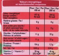 100% pur jus Mandarine Orange Sanguine - Voedingswaarden