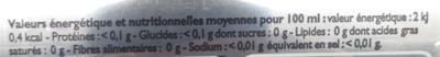Cola light allégé en sucres - Informations nutritionnelles