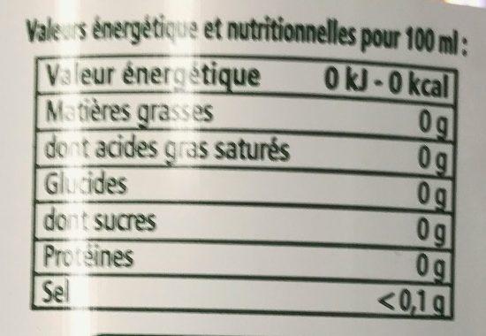 Boisson à l'eau minérale gazeuse aux arômes naturels menthe - Informations nutritionnelles