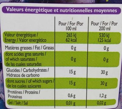 100% pur jus de raisin - Informations nutritionnelles - fr