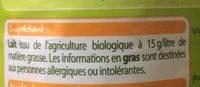 Bio lait stérilisé UHT demi-écrémé - Ingredients
