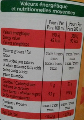 Nectar de Mangue - Nutrition facts - fr
