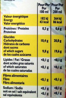100 % pur jus Ananas - Informations nutritionnelles
