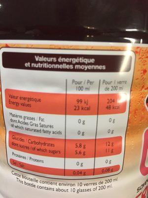 Thé glacé saveur framboise - Nutrition facts - fr