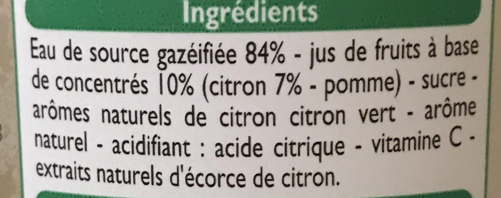 Boisson gazeuse aux fruits saveur citron citron vert - Ingredients - fr
