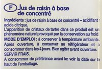 Jus de Raisin - Ingrediënten - fr
