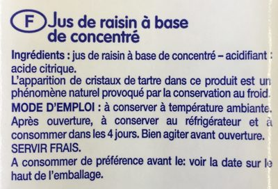 Jus de Raisin - Ingredients - fr
