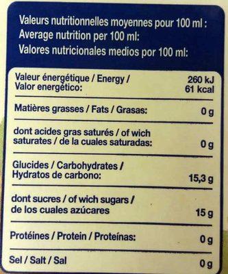 Jus de Raisin - Nutrition facts - fr