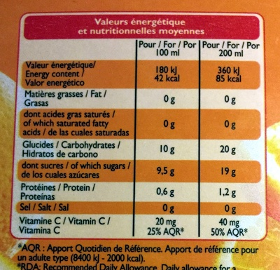 100 % Pur jus Orange - Informations nutritionnelles - fr