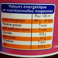 Cranberry et grenade - Informations nutritionnelles - fr