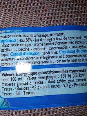 Topi' fruits à l'orange - Informations nutritionnelles - fr