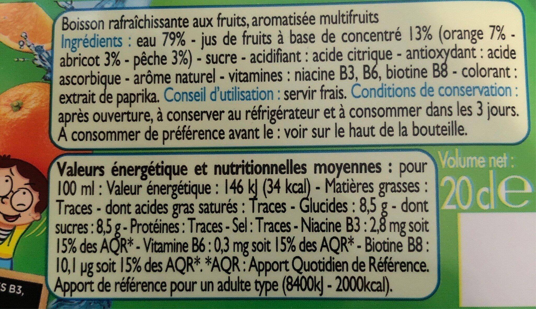 Topi'fruits multivitaminé - Informations nutritionnelles - fr