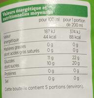100% Pur Jus Pomme Bio - Voedingswaarden - fr