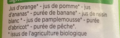 Multifruits Bio 100% Pur Jus - Ingrédients - fr