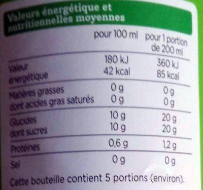Multifruits Bio - 100% pur jus - Voedingswaarden - fr