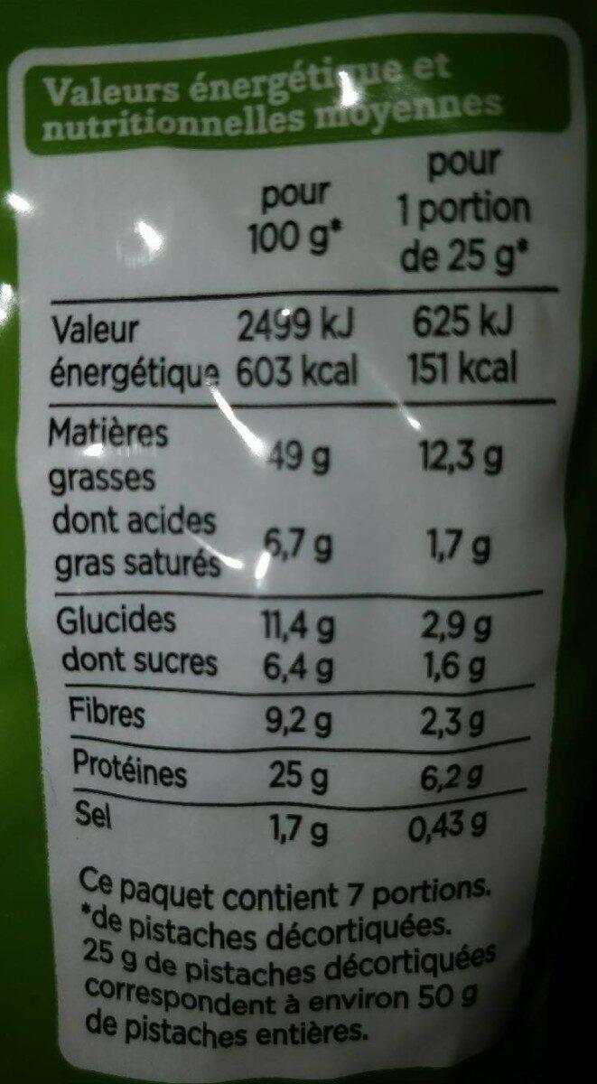 Pistaches grillées à sec salées - Nutrition facts - fr