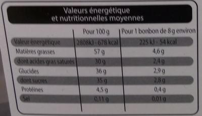 Chocolats fraîcheur lait - Nutrition facts - fr