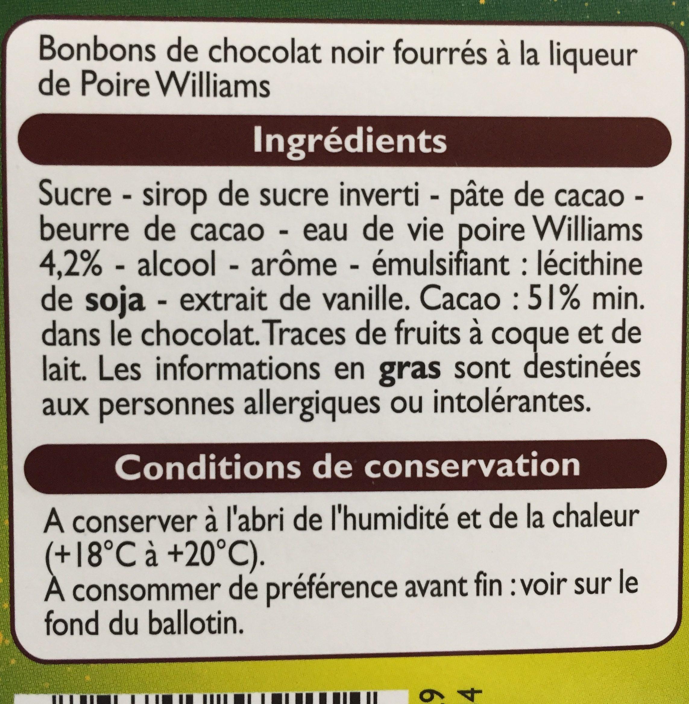 Chocolat Noir fourré à la liqueur - Ingredienti - fr