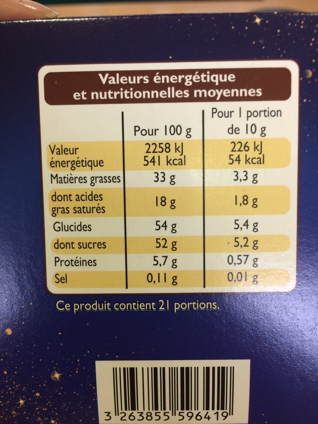 Collection chocolats gourmands - Nutrition facts