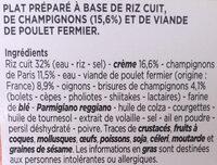 Le risotto de poulet - Ingrédients - fr