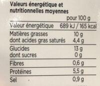 Le risotto de poulet - Informations nutritionnelles - fr