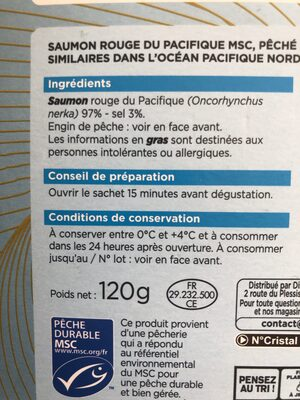 Saumon rouge du Pacifique MSC, pêché aux sennes, aux filets maillants et aux filets similaires dans l'Ocean Pacifique Nord Est, salé au sel sec, fumé au bois de hêtre - Ingredienti - fr