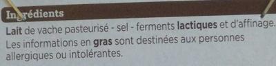 Camembert de caractère (21 % MG) - Ingrédients - fr