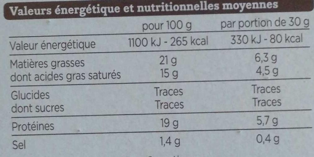 Camembert de caractère (21 % MG) - Informations nutritionnelles - fr