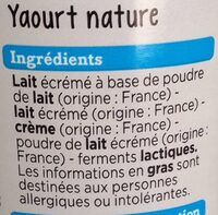 Yaourt nature - Ingredients