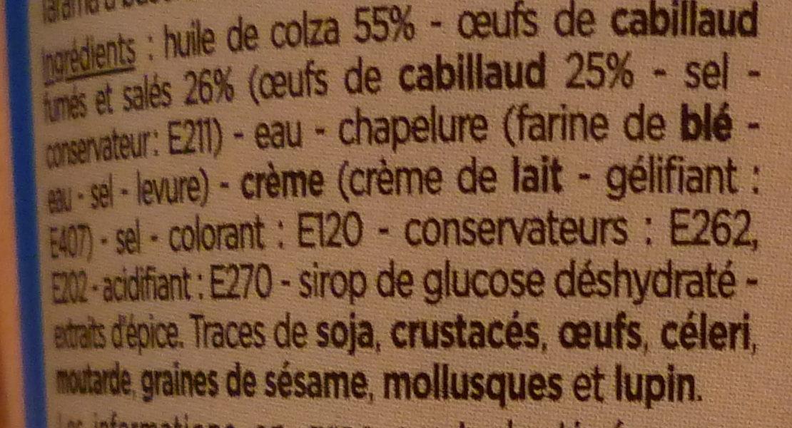 Tarama aux œufs de cabillaud fumés - Ingredients