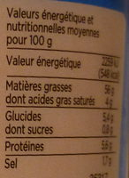 Tarama aux œufs de cabillaud fumés - Información nutricional
