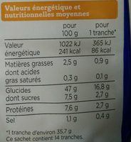 Extra-mie nature - Nutrition facts