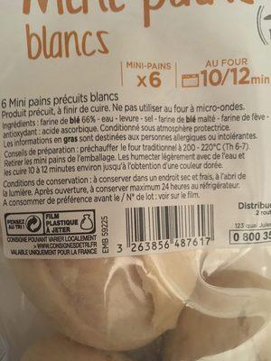 Mini Pain Blanc Precuits - Ingrediënten - fr