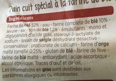 Pain boule complet tranché - Ingrediënten - fr