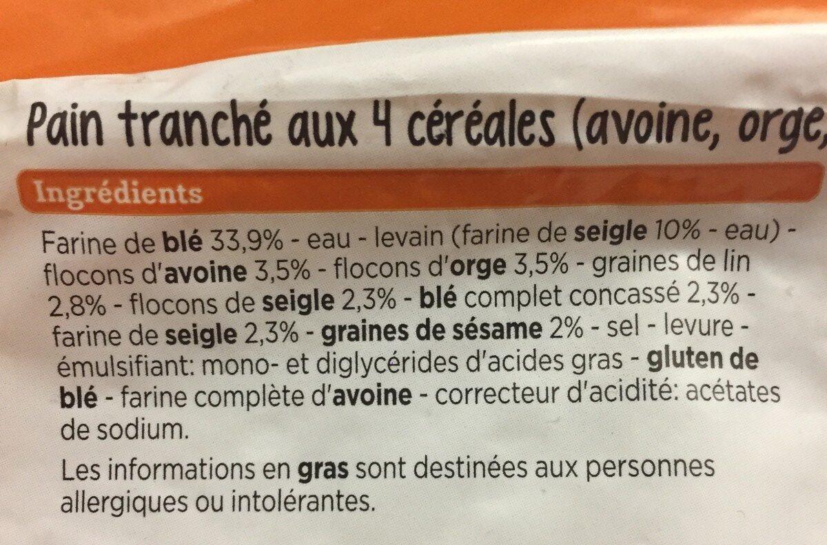 Pain tranché aux 4 céréales - Ingrédients - fr