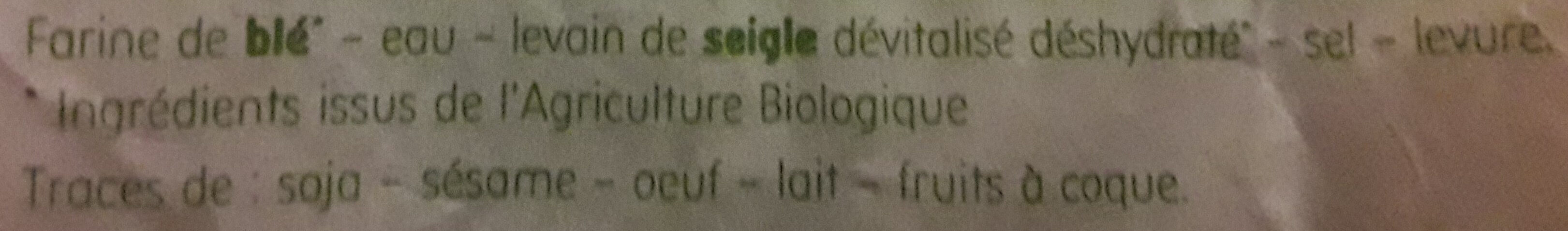 Baguette bio - Ingredienti - fr
