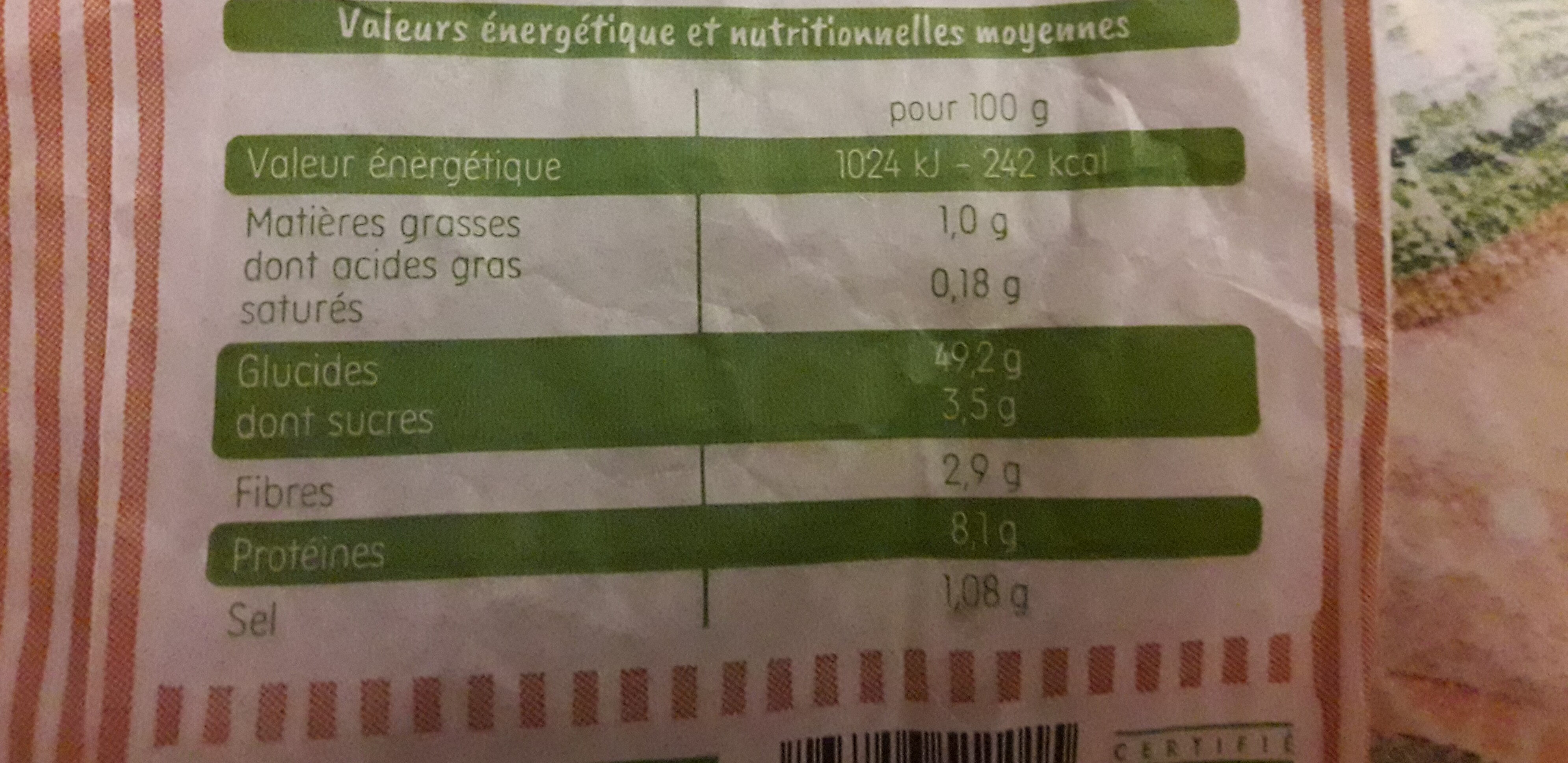 Baguette bio - Nutrition facts - fr