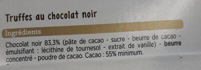Truffes au chocolat noir - Ingrédients