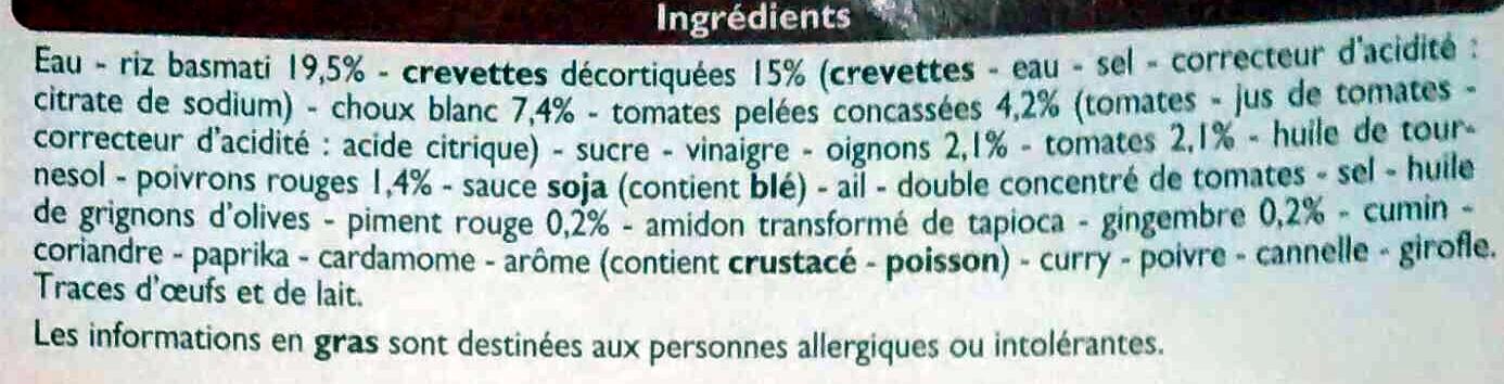 Crevettes sauce piquante, Surgelé - Inhaltsstoffe - fr