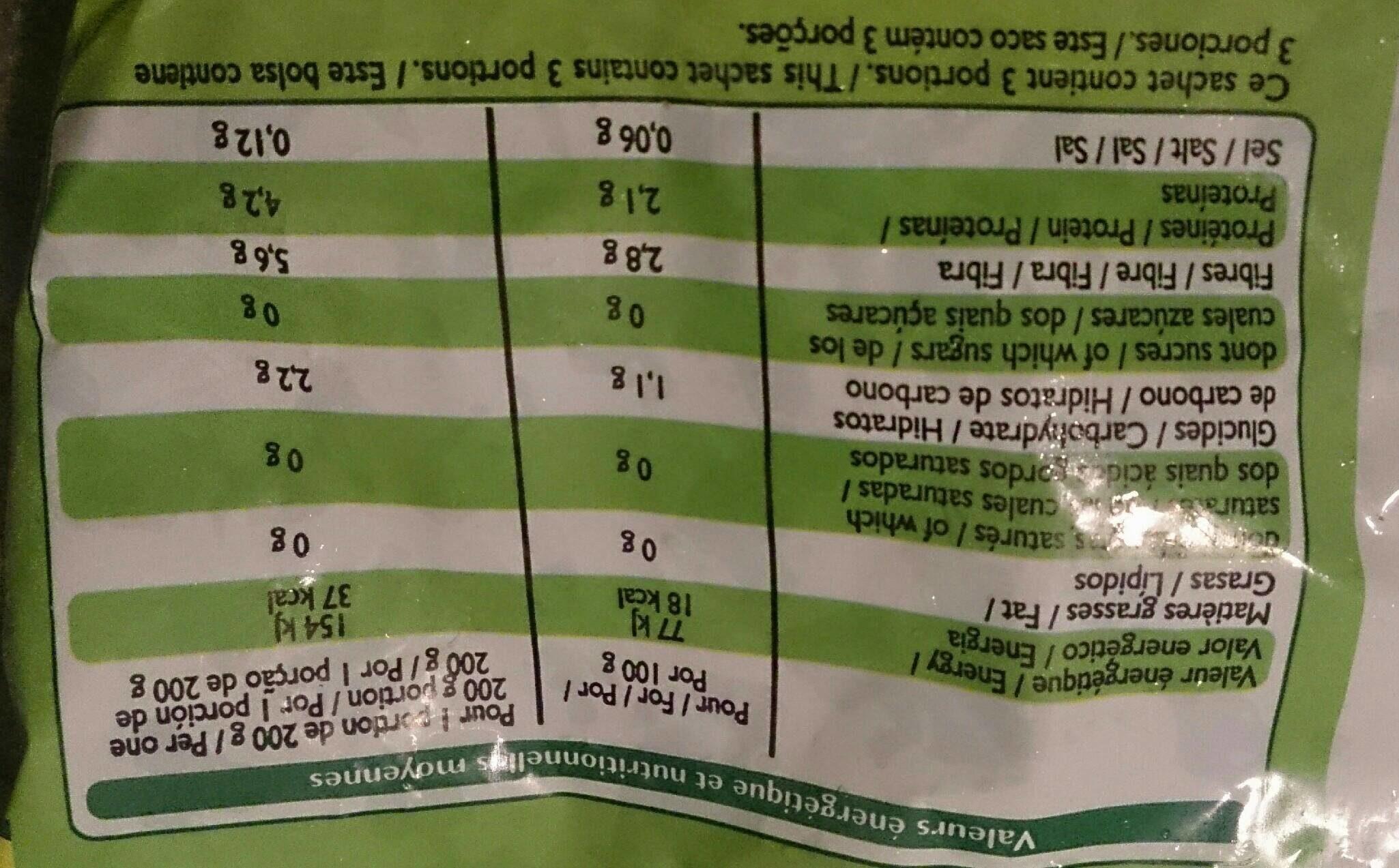 Feuilles épinards surgelées - Voedingswaarden