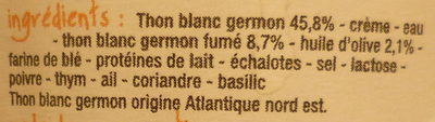 Rillettes de Thon Blanc Germon - Ingredients - fr