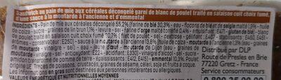 Sandwich poulet fumé Emmental - Ingredienti - fr