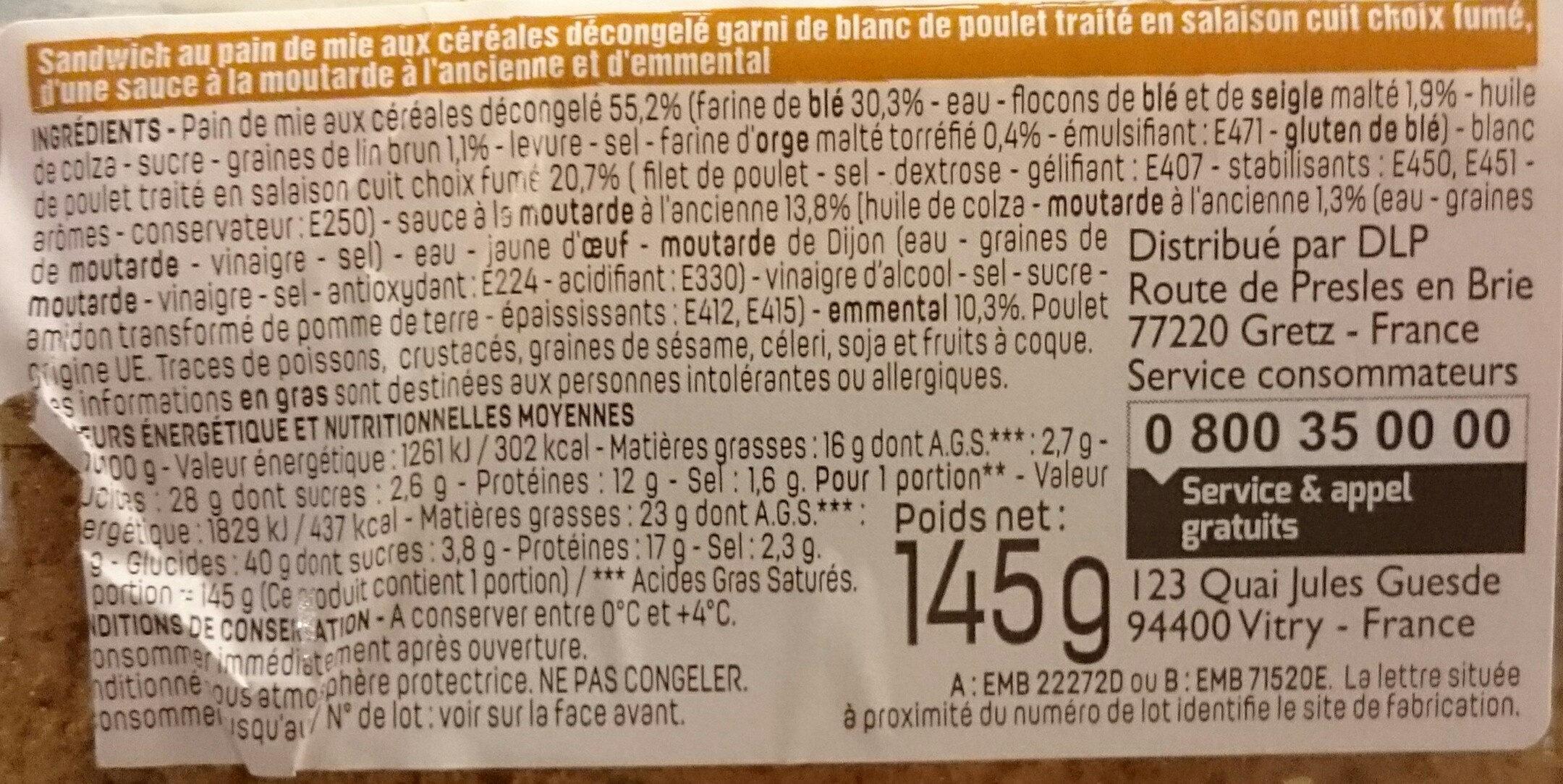 Sandwich poulet fumé Emmental - Valori nutrizionali - fr